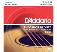 """""""D'ADDARIO EJ39 - Струны для 12-ти струнной акустической гитары Даддарио"""""""