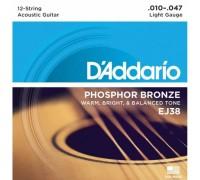 """""""D'ADDARIO EJ38 - Струны для 12-ти струнной акустической гитары Даддарио"""""""